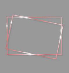 pink gold shiny glowing vintage frame with shadows vector image