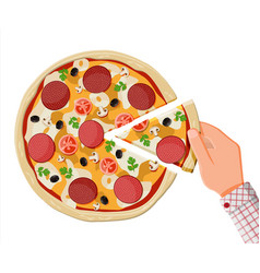 pizza with pepperoni traditional fast food vector image