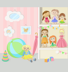 Playing room for girl cozy kids interior with vector