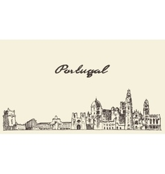 Portugal skyline drawn sketch vector image