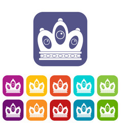 Queen crown icons set flat vector