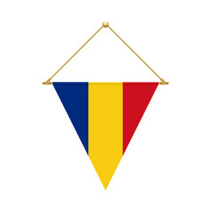 romanian triangle flag hanging vector image