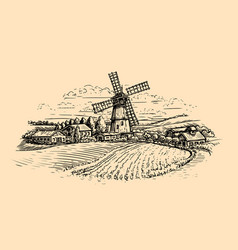 rural landscape sketch farm windmill and field vector image