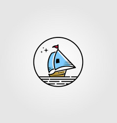 sail boat logo in circle shape design vector image