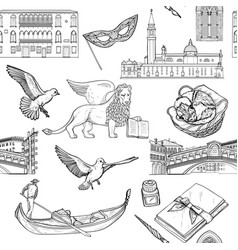 seamless pattern with venice tourist attractions vector image