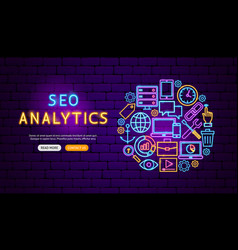 seo analytics neon banner design vector image