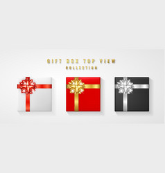 set gift box with bow and ribbon top view element vector image