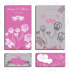 Set of wedding invitations and cards vector image