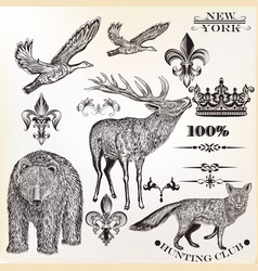Setof high detailed animals in engraved style vector