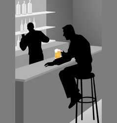 Silhouette of a man at the bar vector