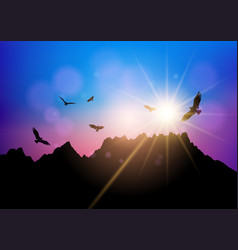 silhouettes birds flying against sunset sky vector image