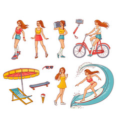 Sketch girls summer leisure activity set vector