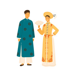 smiling vietnam couple in national costume vector image