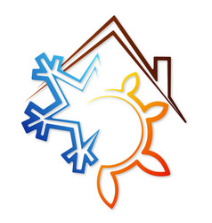snowflake and sun under the roof symbol vector image