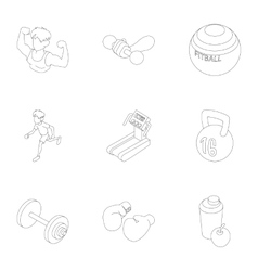 Sport icons set outline style vector