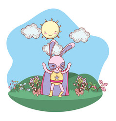 Superhero bunny outdoors cartoon vector