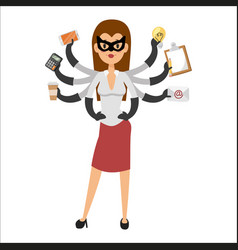 Superhero business woman character vector