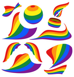 Symbols of lgbt rainbow pride flag circle vector