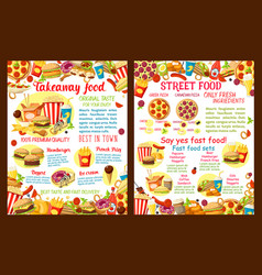 Takeaway street food restaurant poster vector