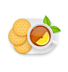 Tea cup and biscuit on plate vector