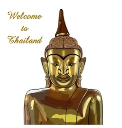 thai gold buddha meditation on a white background vector image
