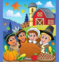 Thanksgiving pilgrim theme 4 vector