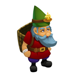 the old dwarf in a green cap with a burning candle vector image