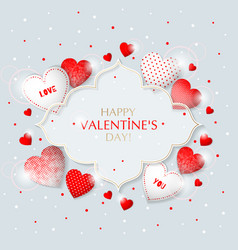this is valentine s day frame with hearts vector image
