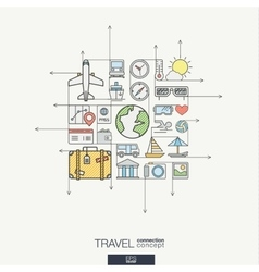 Travel integrated thin line symbols Modern color vector image