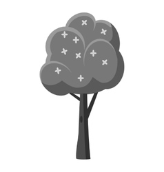 Tree with flowers icon gray monochrome style vector