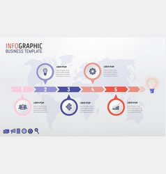 Trendy color company timeline infographic vector