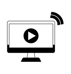 video player on computer in black and white vector image