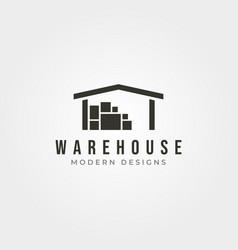 Warehouse storage logo vintage design minimal logo vector