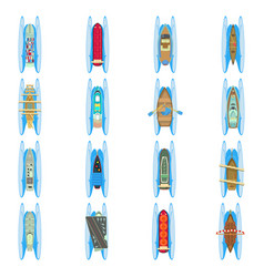Water world icons set cartoon style vector