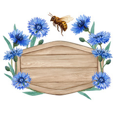 Watercolor wooden tag with bluebottle flowers vector