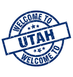 Welcome to utah blue stamp vector