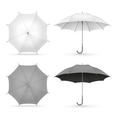 white and black realistic umbrellas isolated on vector image