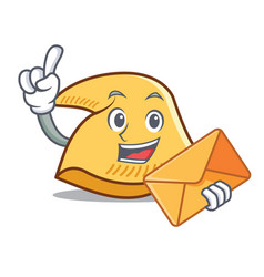 With envelope fortune cookie character cartoon vector