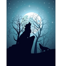 Wolf howling in night forest9 vector