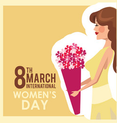 8 march womens day card girl bouquet flowers vector image