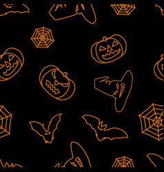 halloween black background with orange witch hat vector image vector image