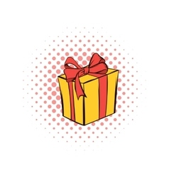 Yellow gift box with a red ribbon comics icon vector image vector image