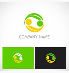 circle ecology green leaf logo vector image