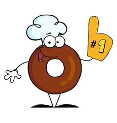 Donut cartoon character number one vector