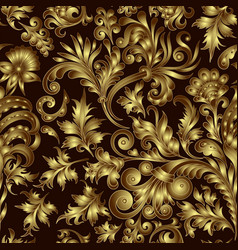 gold pattern on black background with hand vector image vector image
