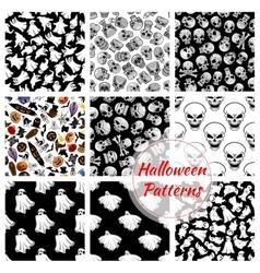 Halloween seamless decoration patterns set vector image