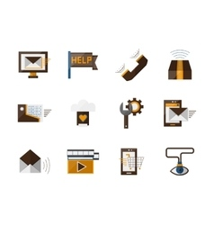 Online support flat color icons set vector image vector image