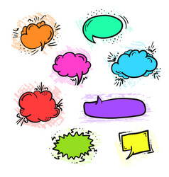 set of bright colorful retro comic speech bubbles vector image