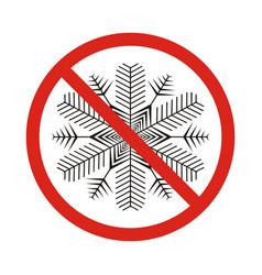 A forbidden signal with a snow flake vector