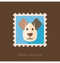 Dog flat stamp animal head vector